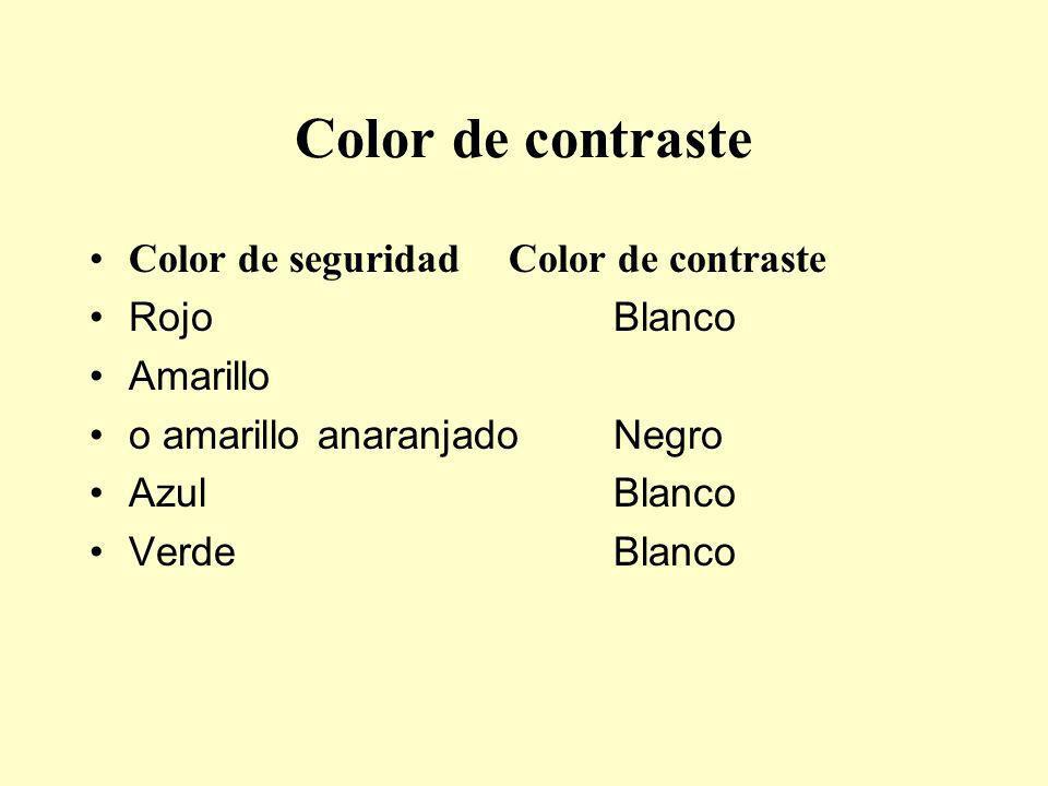 Color de contraste Color de seguridad Color de contraste Rojo Blanco