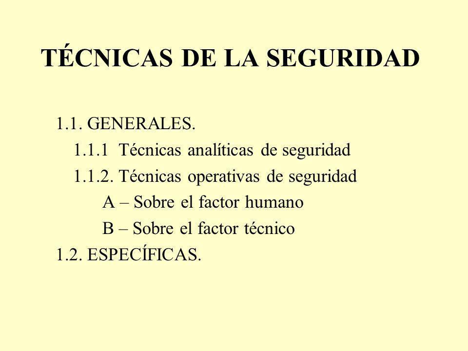 TÉCNICAS DE LA SEGURIDAD