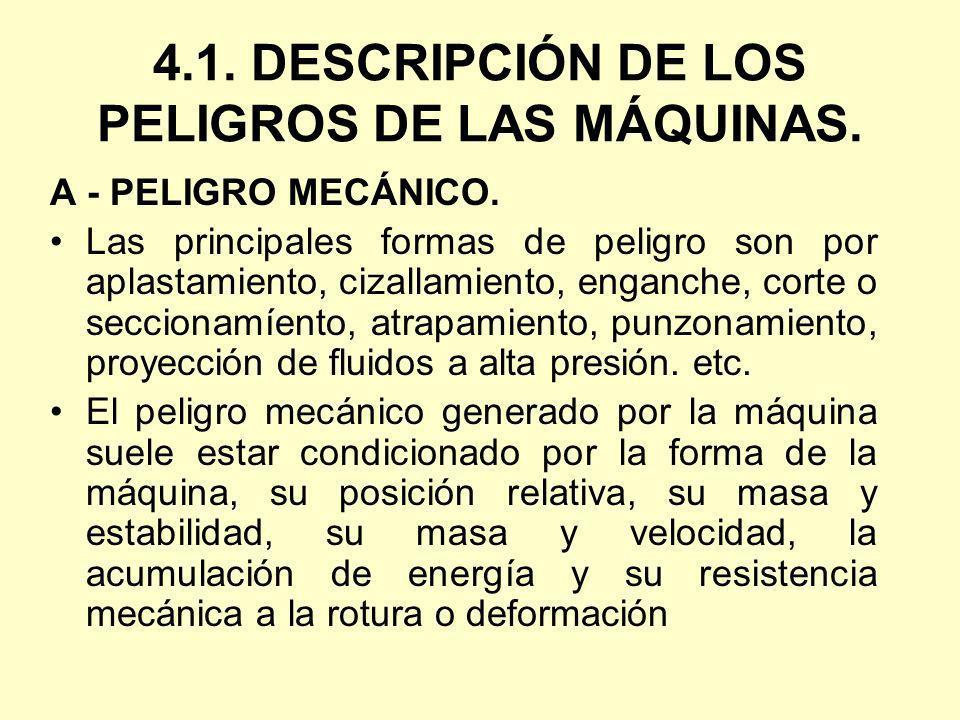 4.1. DESCRIPCIÓN DE LOS PELIGROS DE LAS MÁQUINAS.