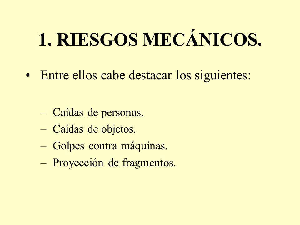 1. RIESGOS MECÁNICOS. Entre ellos cabe destacar los siguientes: