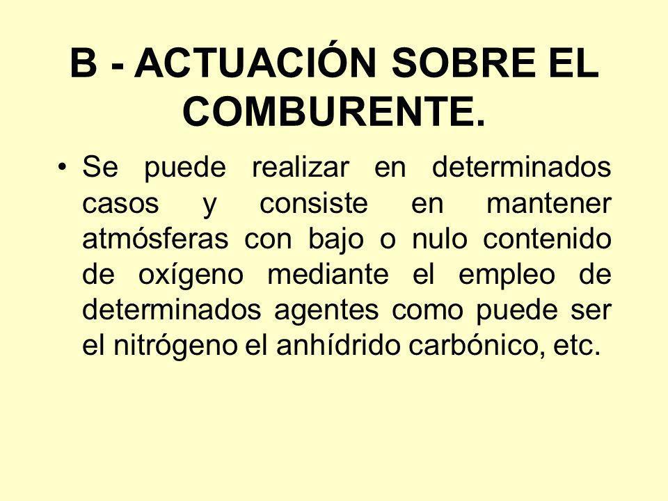 B - ACTUACIÓN SOBRE EL COMBURENTE.