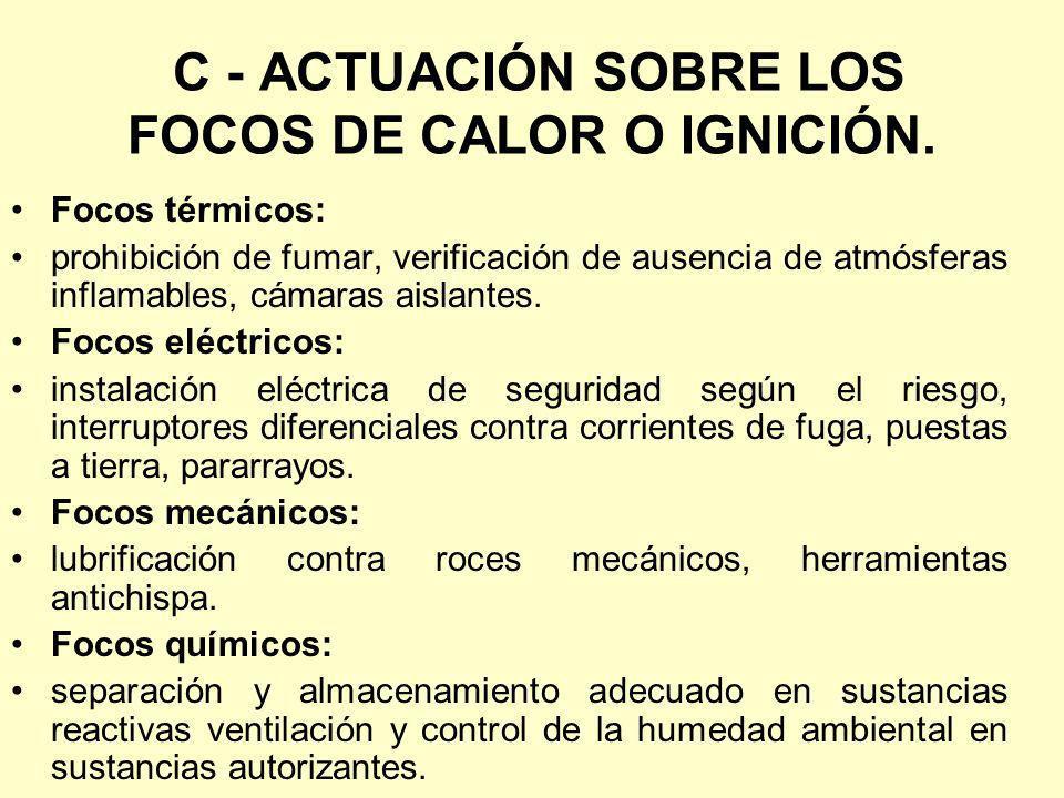C - ACTUACIÓN SOBRE LOS FOCOS DE CALOR O IGNICIÓN.