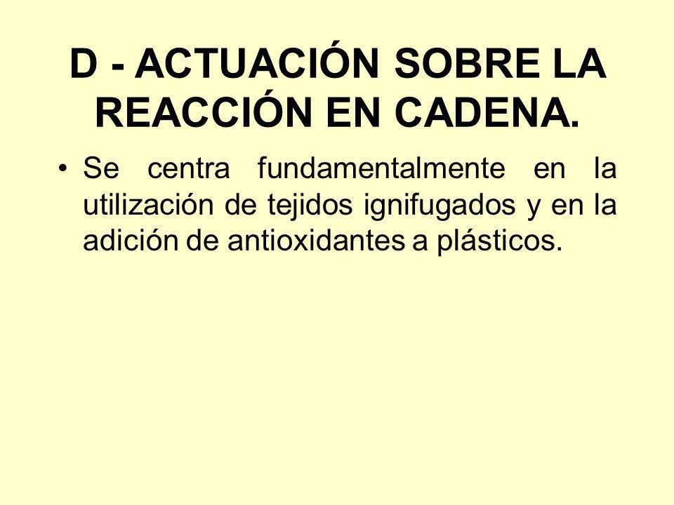 D - ACTUACIÓN SOBRE LA REACCIÓN EN CADENA.