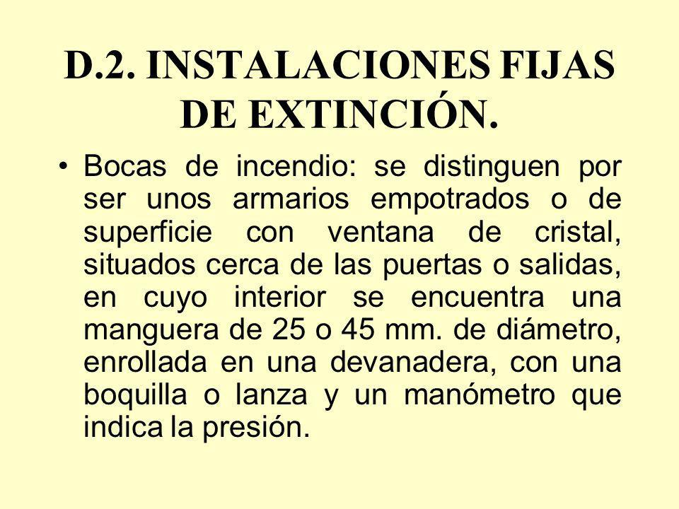 D.2. INSTALACIONES FIJAS DE EXTINCIÓN.