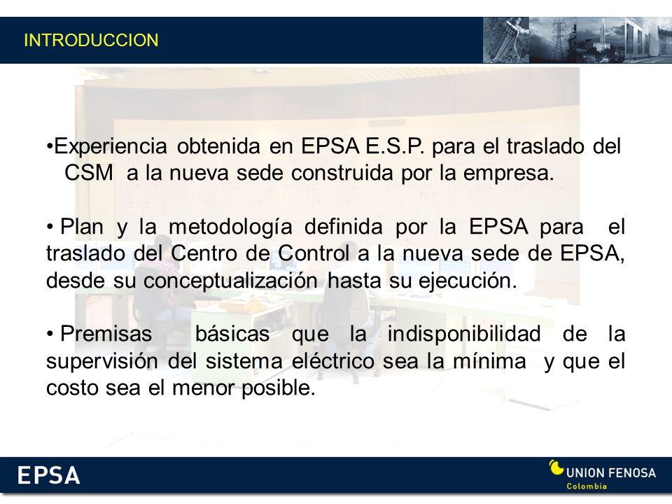 Experiencia obtenida en EPSA E.S.P. para el traslado del