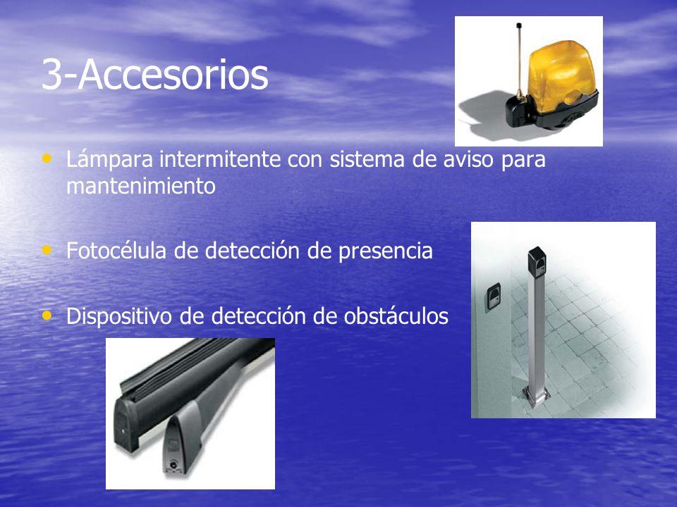 3-Accesorios Lámpara intermitente con sistema de aviso para mantenimiento. Fotocélula de detección de presencia.