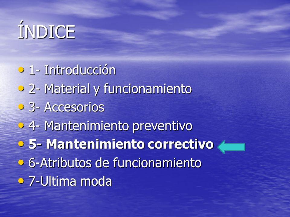 ÍNDICE 1- Introducción 2- Material y funcionamiento 3- Accesorios