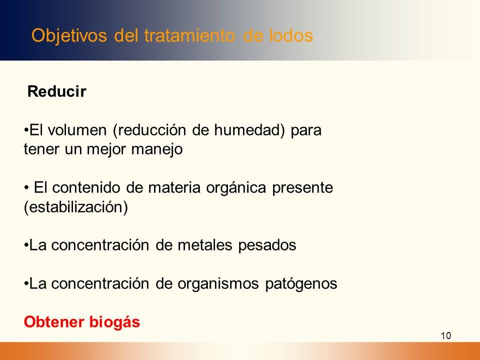 Objetivos del tratamiento de lodos