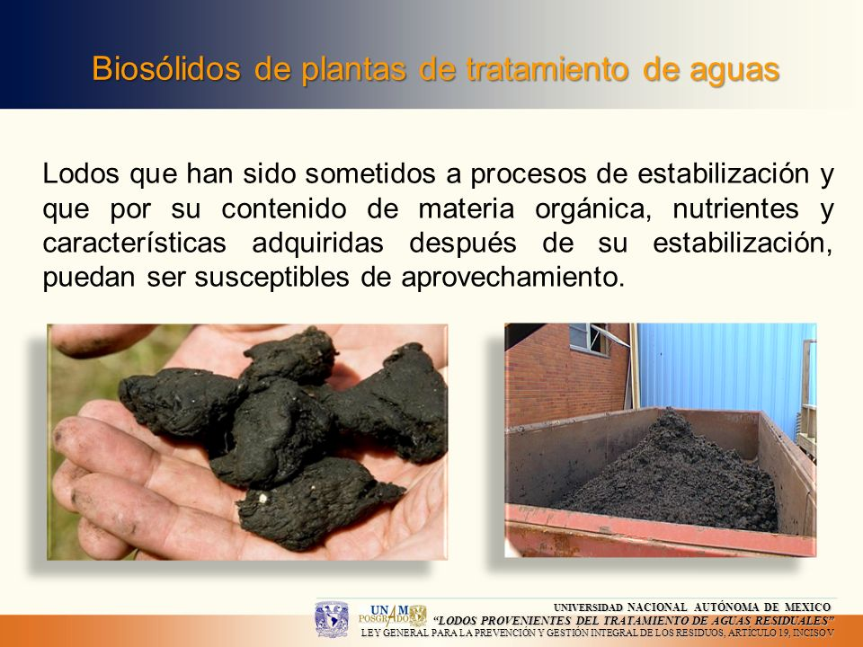 Biosólidos de plantas de tratamiento de aguas