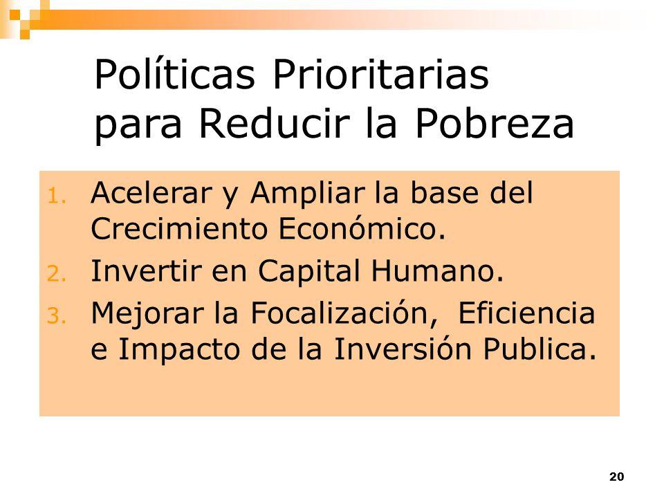 Políticas Prioritarias para Reducir la Pobreza