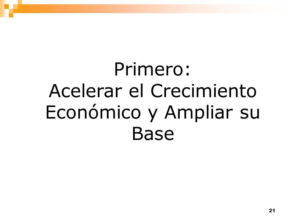 Primero: Acelerar el Crecimiento Económico y Ampliar su Base