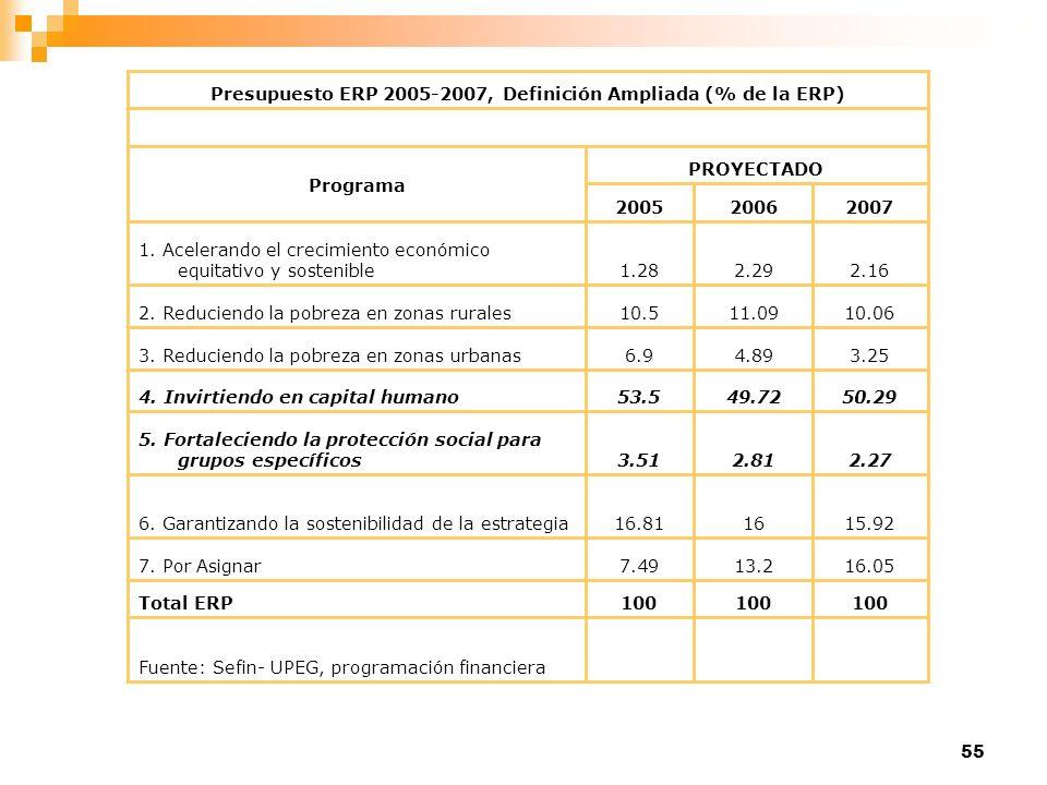 Presupuesto ERP 2005-2007, Definición Ampliada (% de la ERP)