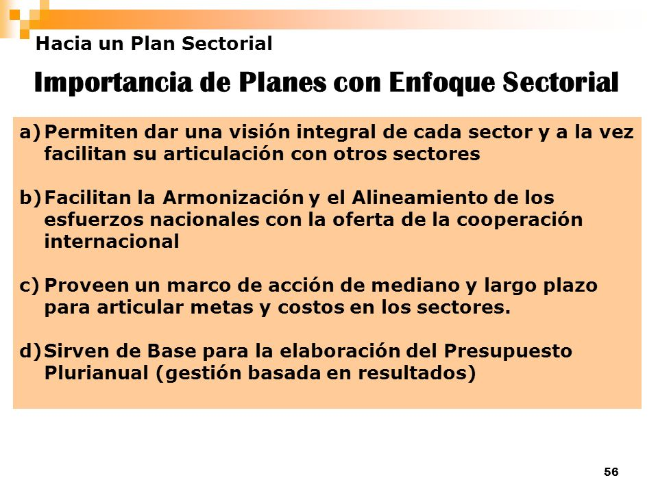 Importancia de Planes con Enfoque Sectorial