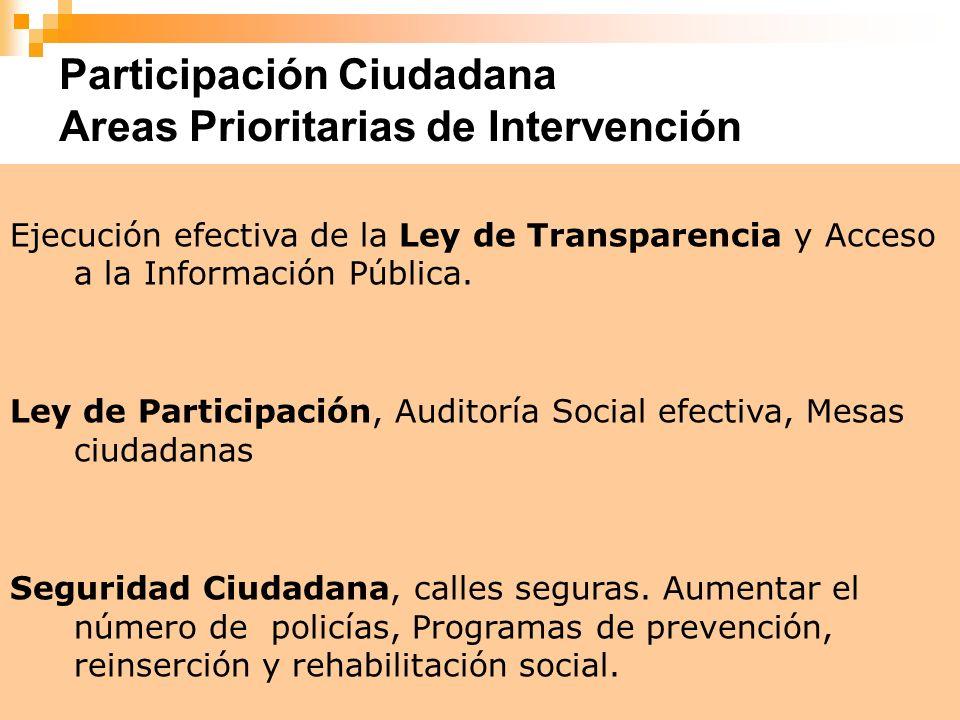 Participación Ciudadana Areas Prioritarias de Intervención