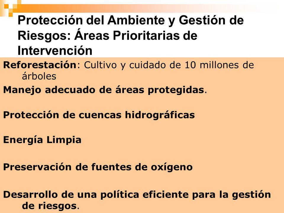 Protección del Ambiente y Gestión de Riesgos: Áreas Prioritarias de Intervención
