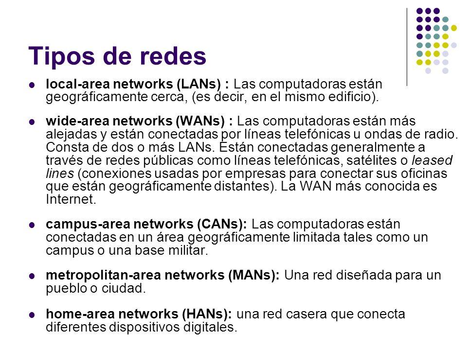 Tipos de redes local-area networks (LANs) : Las computadoras están geográficamente cerca, (es decir, en el mismo edificio).