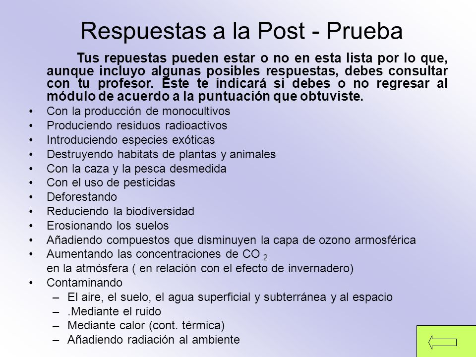 Respuestas a la Post - Prueba