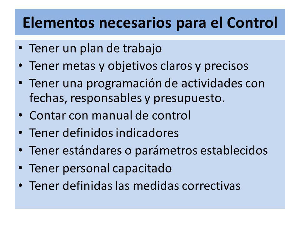 Elementos necesarios para el Control