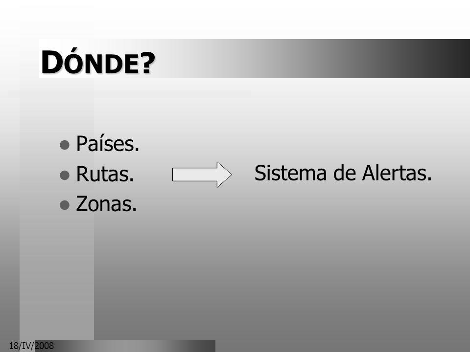 DÓNDE Países. Rutas. Zonas. Sistema de Alertas. 18/IV/2008