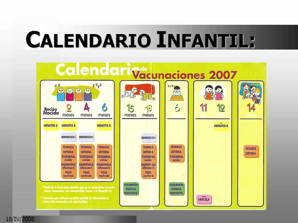 CALENDARIO INFANTIL: 18/IV/2008