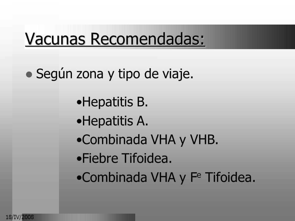 Vacunas Recomendadas: