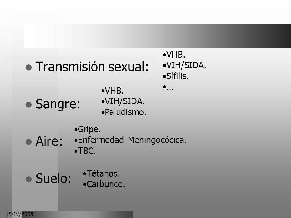 Transmisión sexual: Sangre: Aire: Suelo: VHB. VIH/SIDA. Sífilis. …
