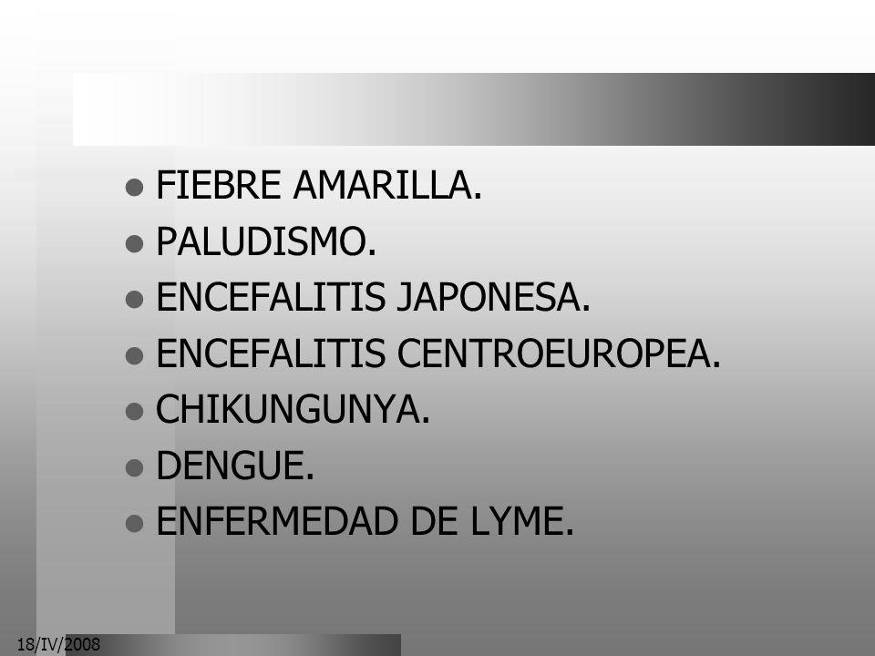 ENCEFALITIS CENTROEUROPEA. CHIKUNGUNYA. DENGUE. ENFERMEDAD DE LYME.