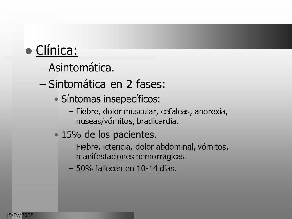 Clínica: Asintomática. Sintomática en 2 fases: Síntomas insepecíficos: