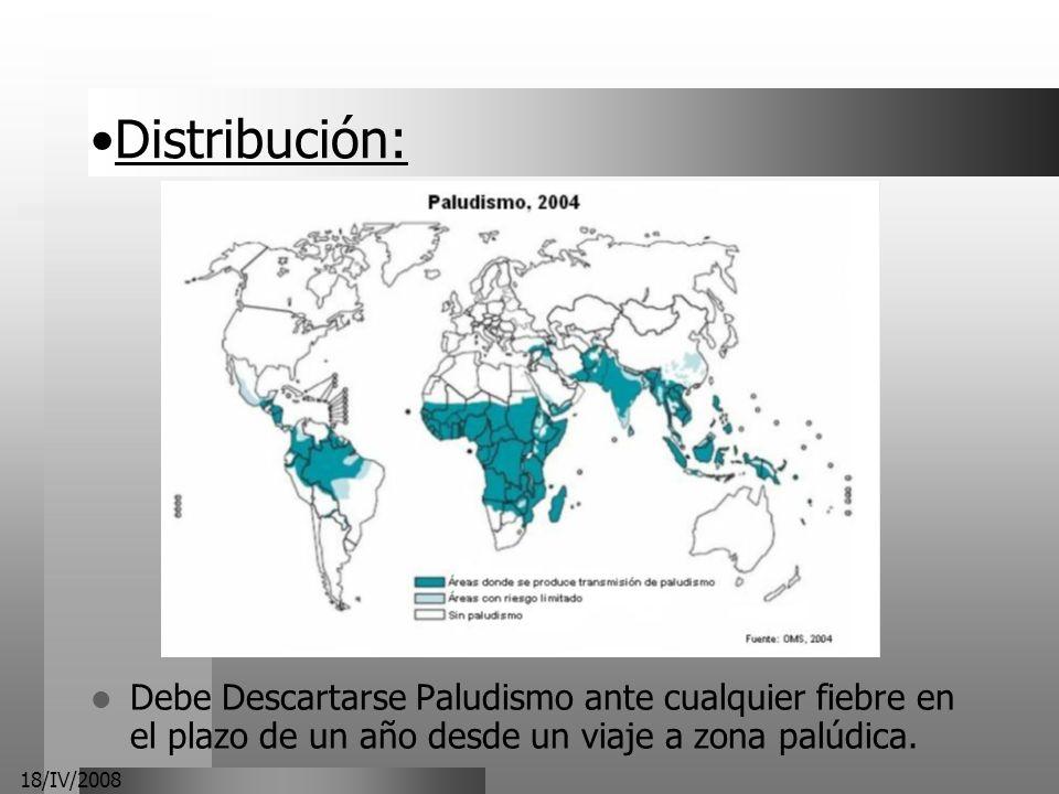 Distribución:Debe Descartarse Paludismo ante cualquier fiebre en el plazo de un año desde un viaje a zona palúdica.