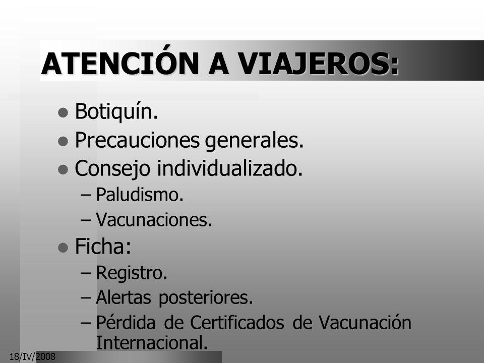 ATENCIÓN A VIAJEROS: Botiquín. Precauciones generales.