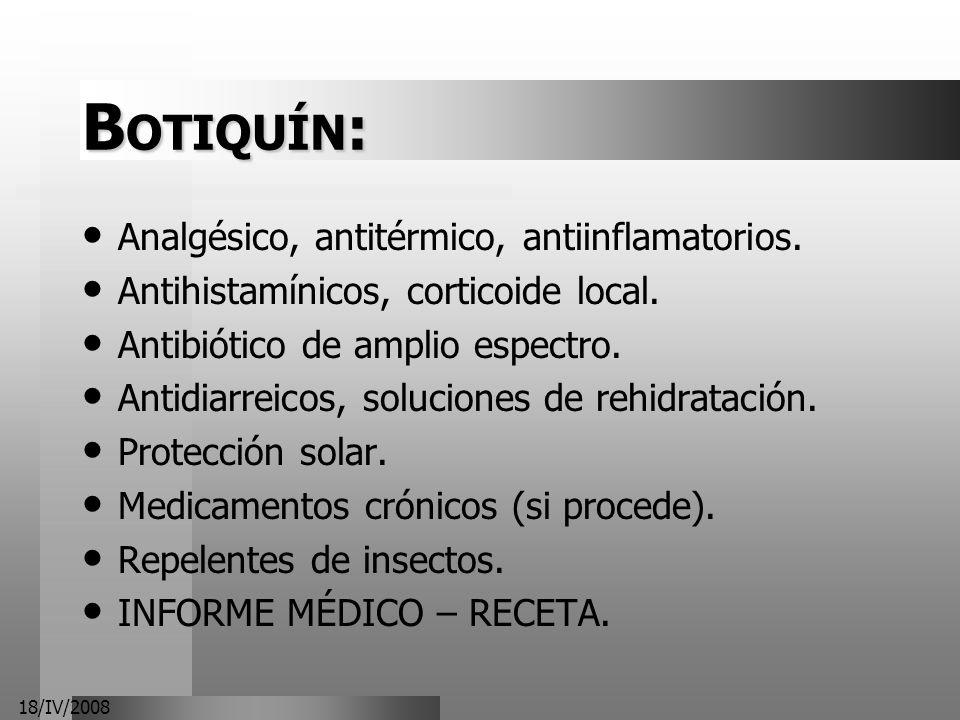 BOTIQUÍN: Analgésico, antitérmico, antiinflamatorios.
