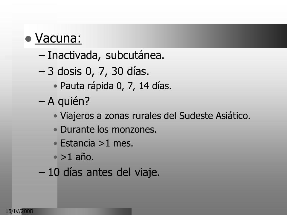 Vacuna: Inactivada, subcutánea. 3 dosis 0, 7, 30 días. A quién