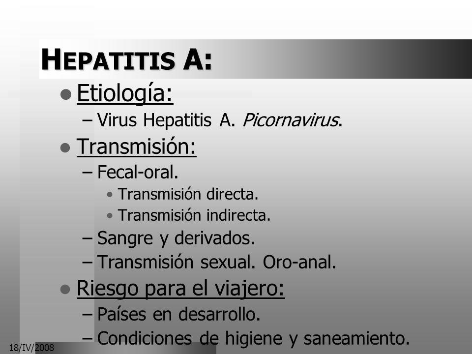 HEPATITIS A: Etiología: Transmisión: Riesgo para el viajero: