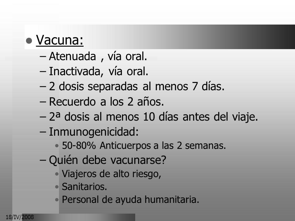 Vacuna: Atenuada , vía oral. Inactivada, vía oral.