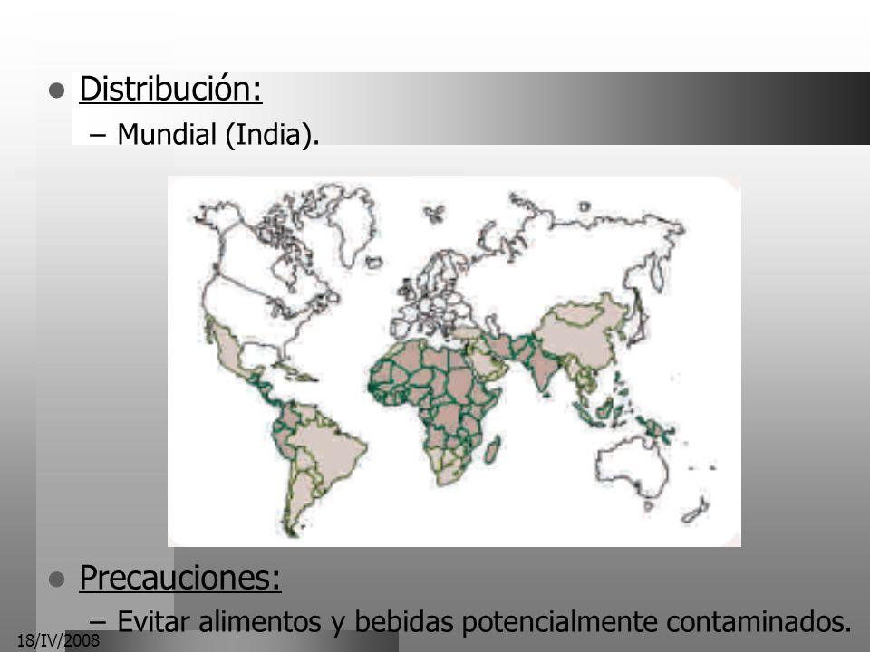 Distribución: Precauciones: Mundial (India).