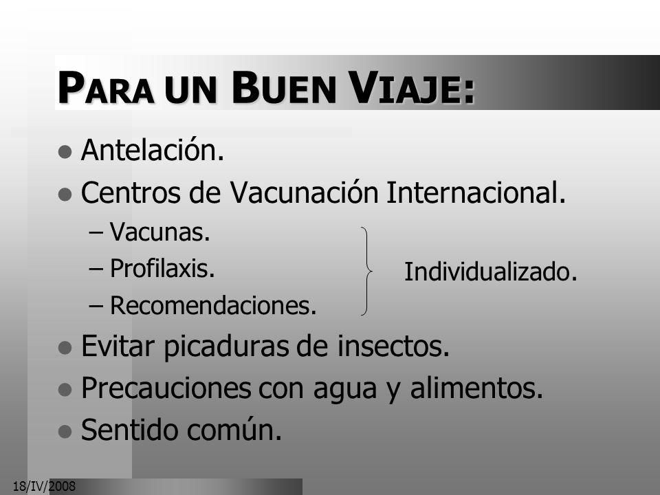 PARA UN BUEN VIAJE: Antelación. Centros de Vacunación Internacional.