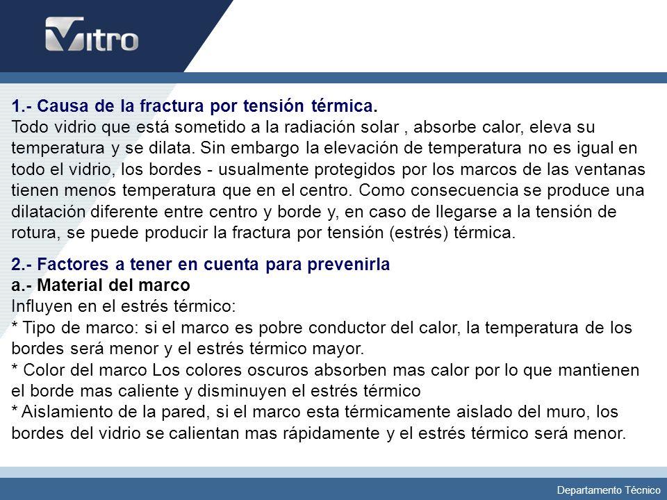 1. - Causa de la fractura por tensión térmica