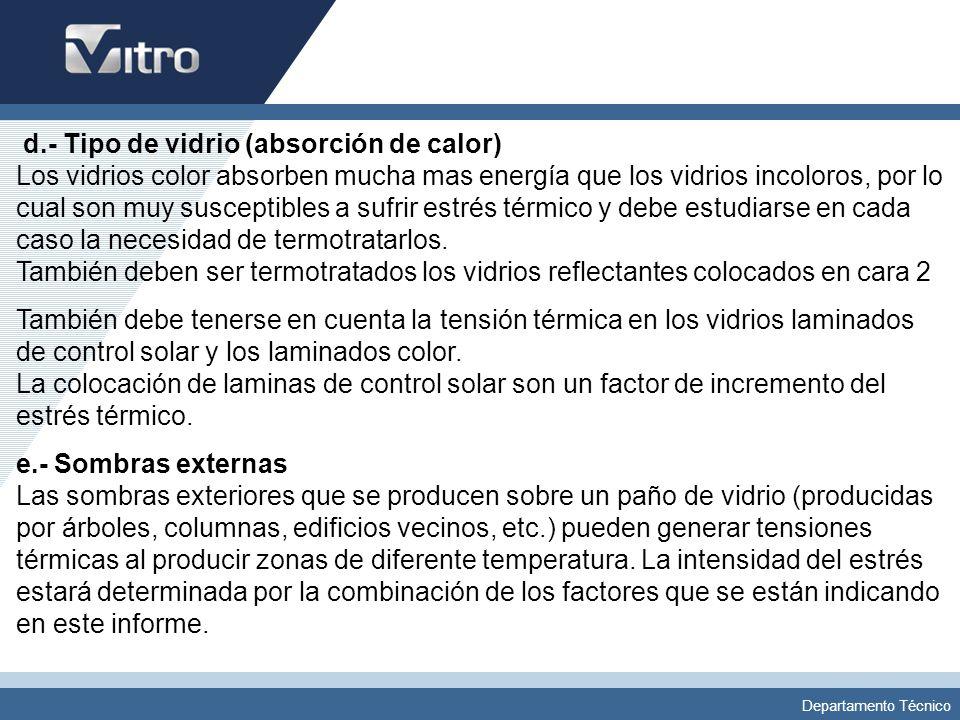 d.- Tipo de vidrio (absorción de calor) Los vidrios color absorben mucha mas energía que los vidrios incoloros, por lo cual son muy susceptibles a sufrir estrés térmico y debe estudiarse en cada caso la necesidad de termotratarlos. También deben ser termotratados los vidrios reflectantes colocados en cara 2