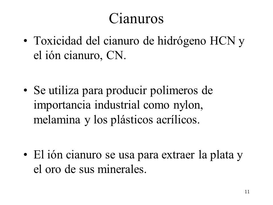 Cianuros Toxicidad del cianuro de hidrógeno HCN y el ión cianuro, CN.