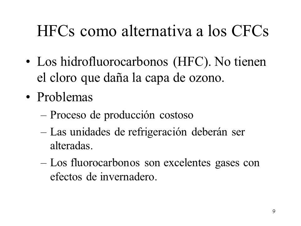 HFCs como alternativa a los CFCs