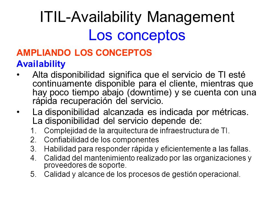 ITIL-Availability Management Los conceptos