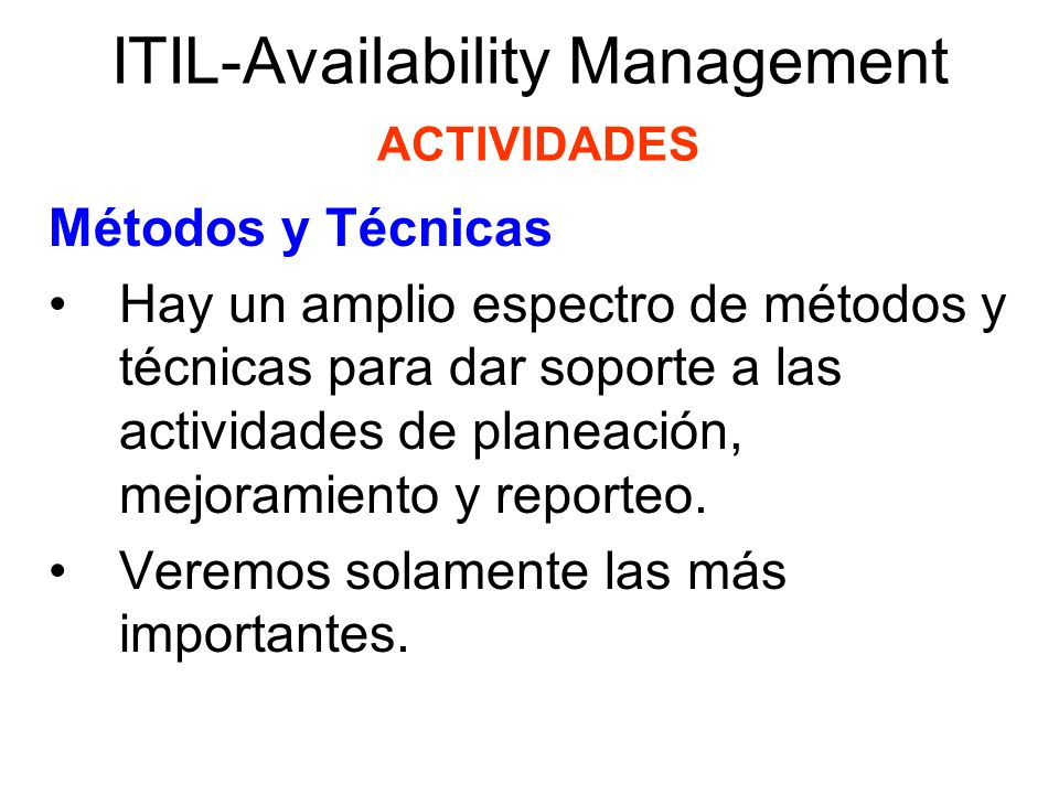 ITIL-Availability Management ACTIVIDADES