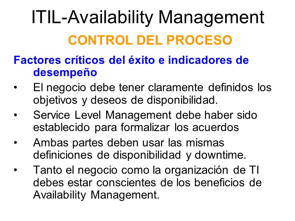 ITIL-Availability Management CONTROL DEL PROCESO