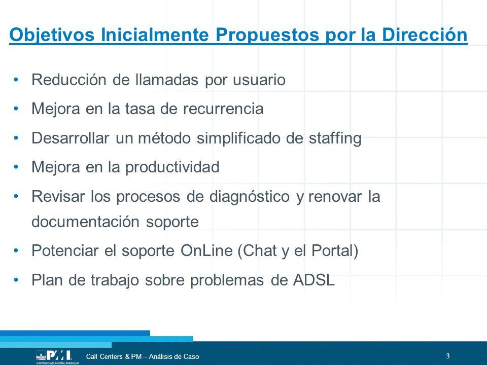 Objetivos Inicialmente Propuestos por la Dirección