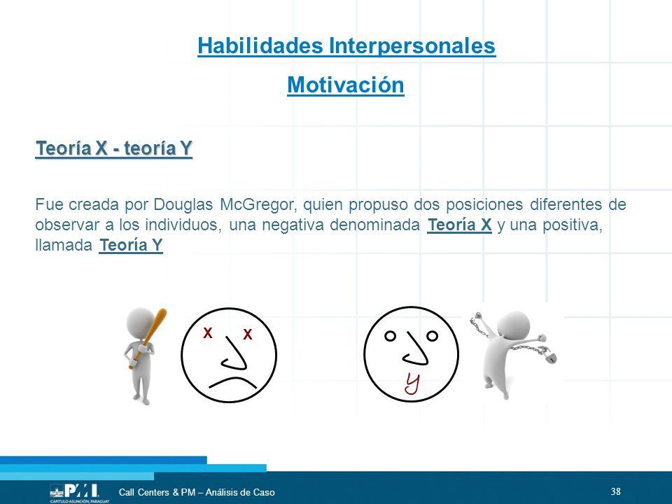 y Habilidades Interpersonales Motivación Teoría X - teoría Y