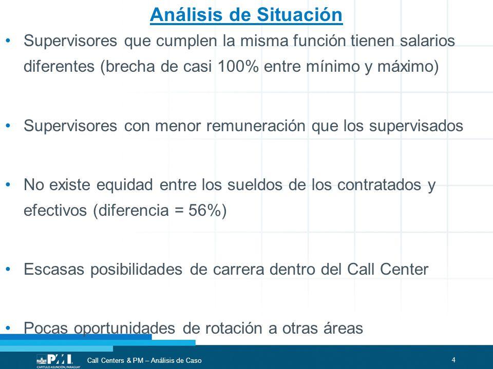Análisis de Situación Supervisores que cumplen la misma función tienen salarios diferentes (brecha de casi 100% entre mínimo y máximo)