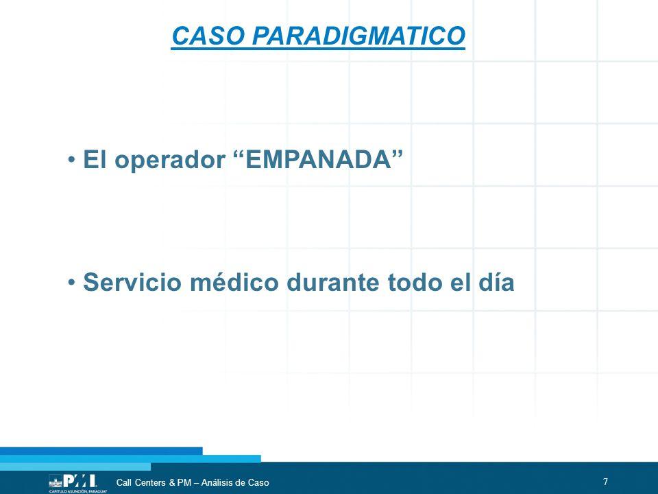 CASO PARADIGMATICO El operador EMPANADA Servicio médico durante todo el día