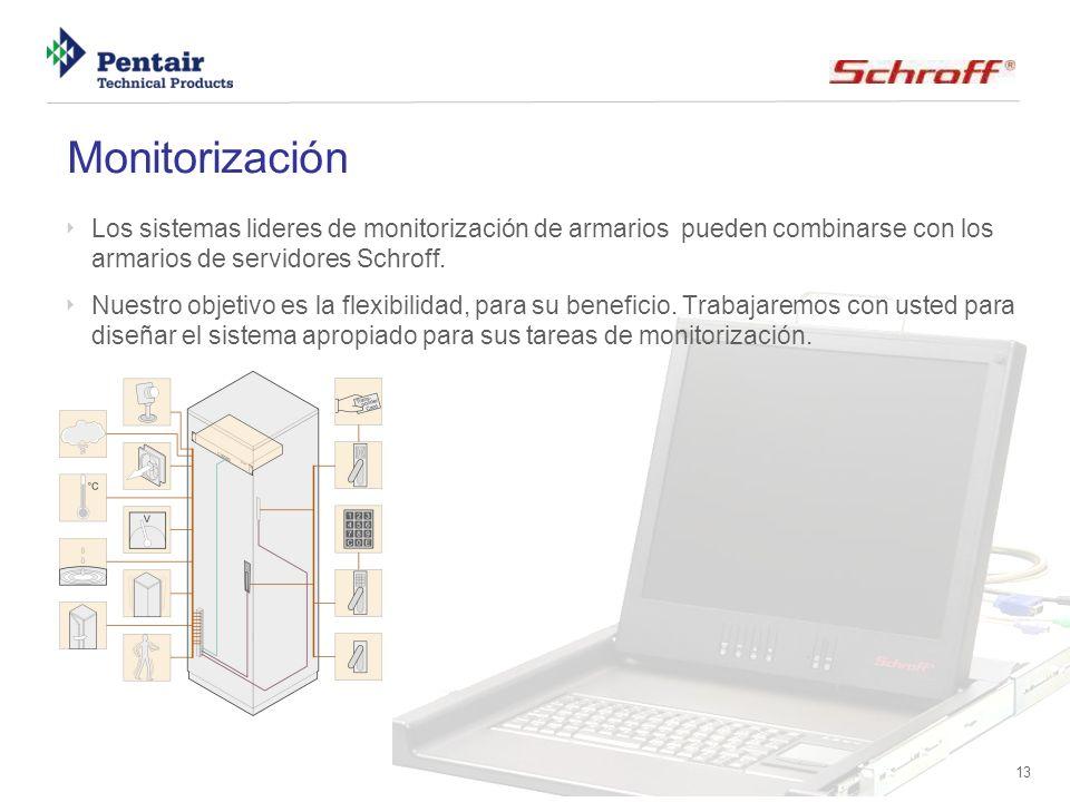Monitorización Los sistemas lideres de monitorización de armarios pueden combinarse con los armarios de servidores Schroff.