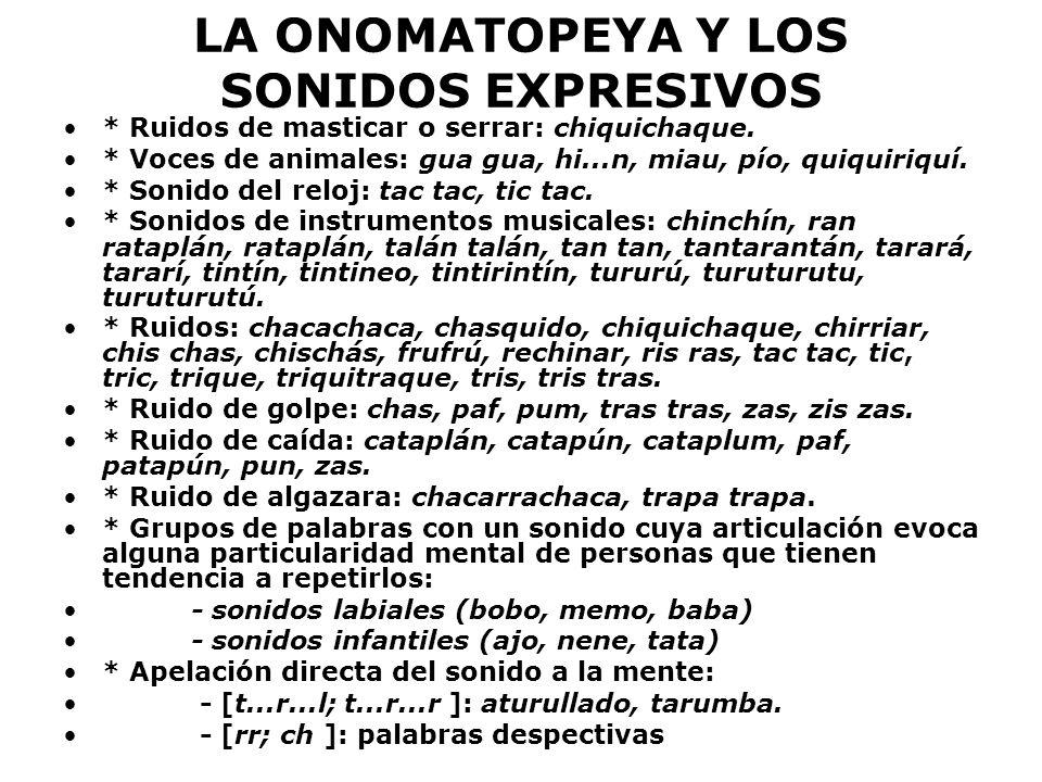 LA ONOMATOPEYA Y LOS SONIDOS EXPRESIVOS