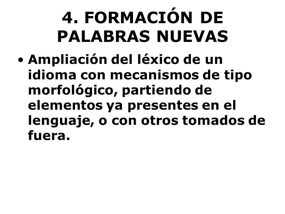 4. FORMACIÓN DE PALABRAS NUEVAS